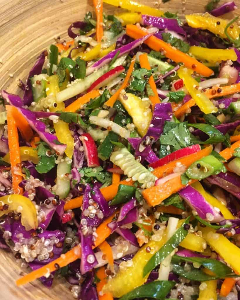 Quinoa Rainbow Salad with Asian Lime Vinaigrette