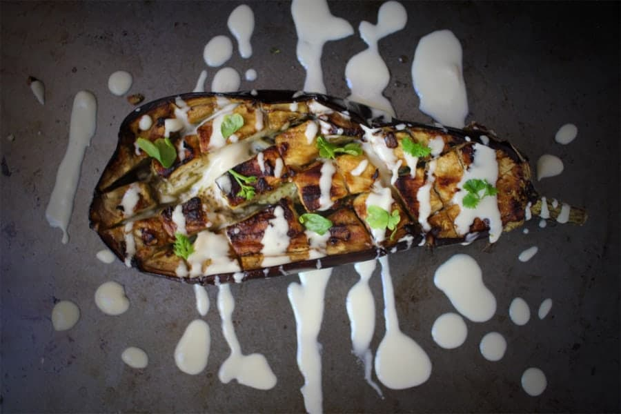 Garlic Lemon Roasted Eggplant with Tahini Sauce