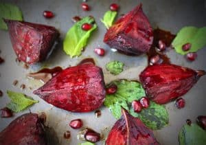 Roasted Beetroots with Pomegranate Raspberry Glaze