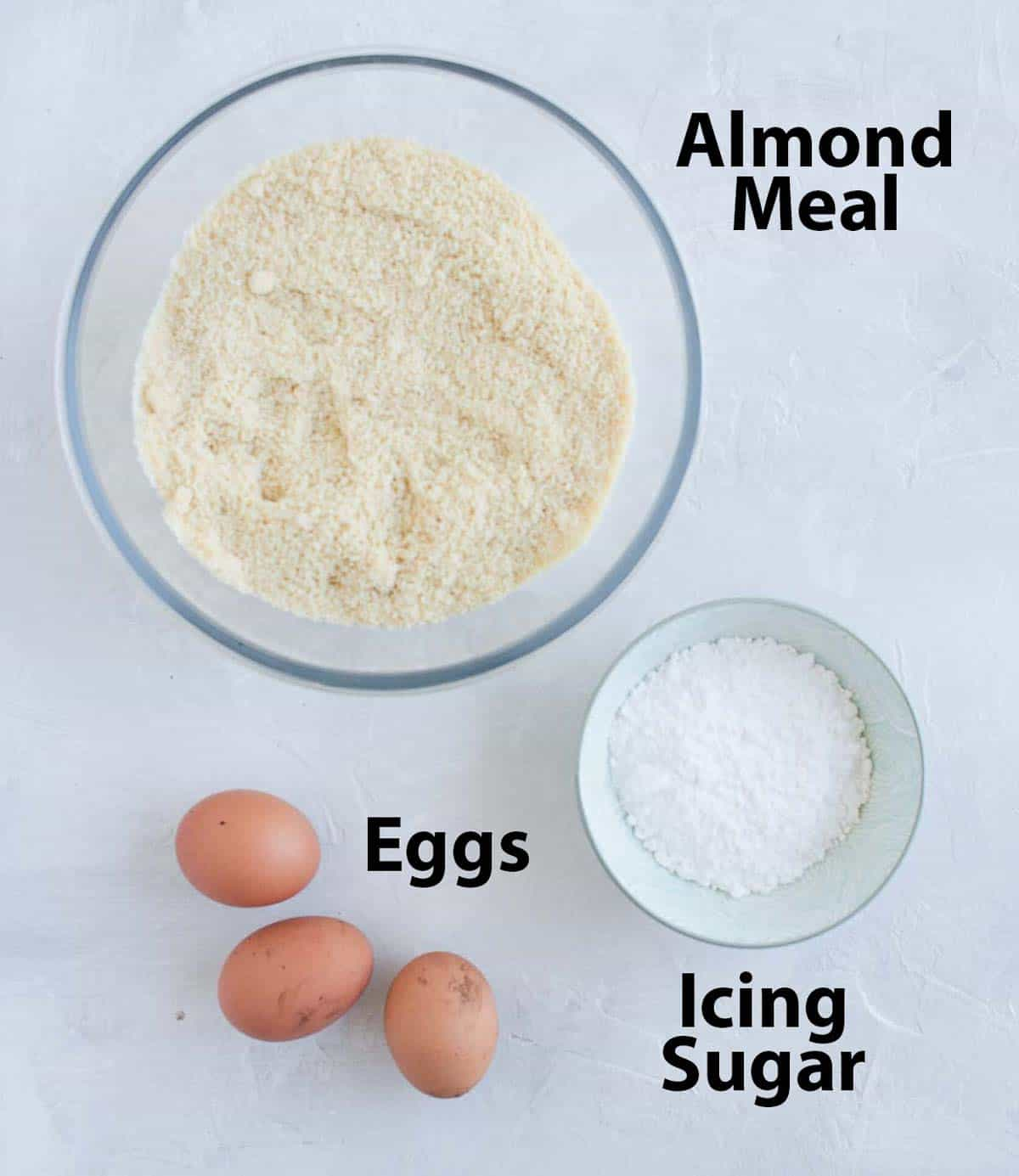 Ingredients on a white surface.