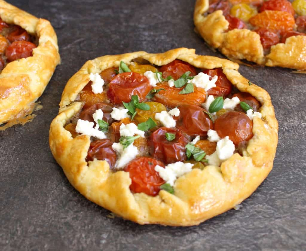 Cherry Tomato Galettes with Pesto
