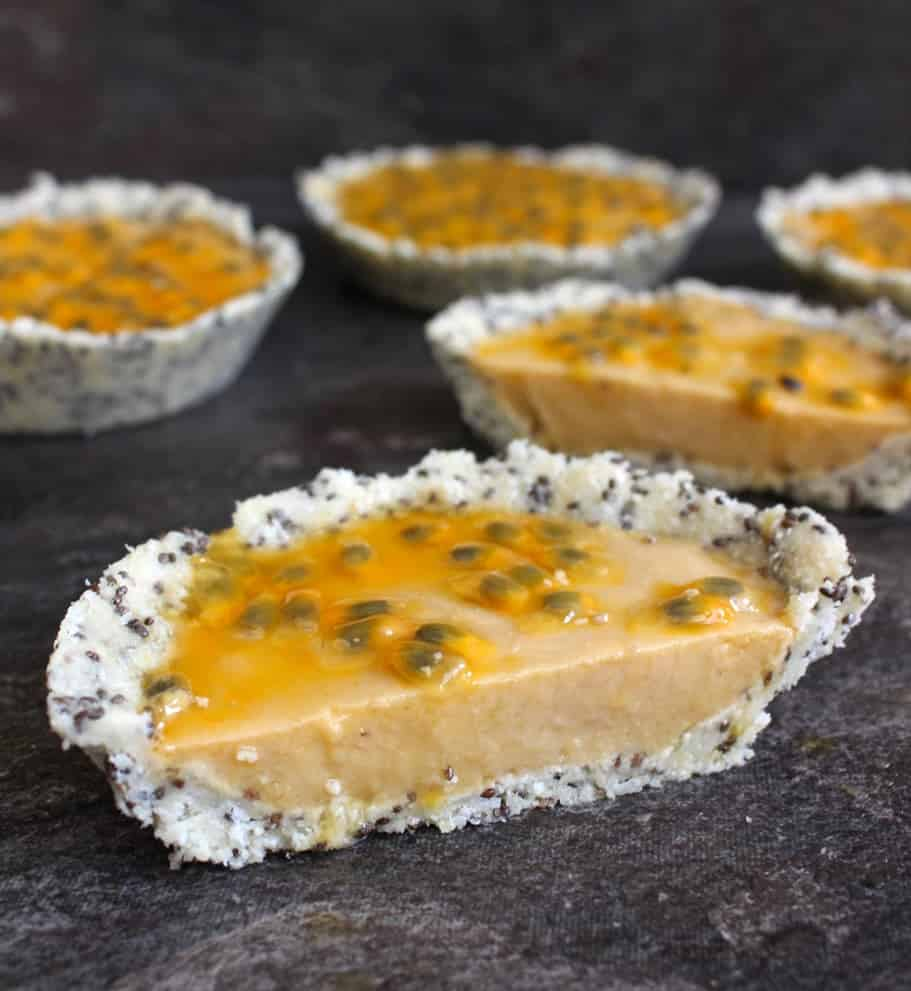 No Bake Pineapple Tartlets with Passion Fruit (Gluten Free)