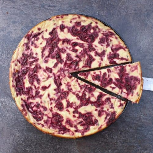 Passion Fruit and Raspberry Cheesecake Cut Slice
