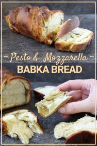 Pesto and Mozzarella Babka Bread. This super easy bread recipe is a perfect introduction to bread making. The delicious, light babka bread is only made better by the addition of a Homemade Basil Pesto and Fresh Mozzarella Filling. Enjoy it fresh or use a slice to make a decadent Garlic Bread!