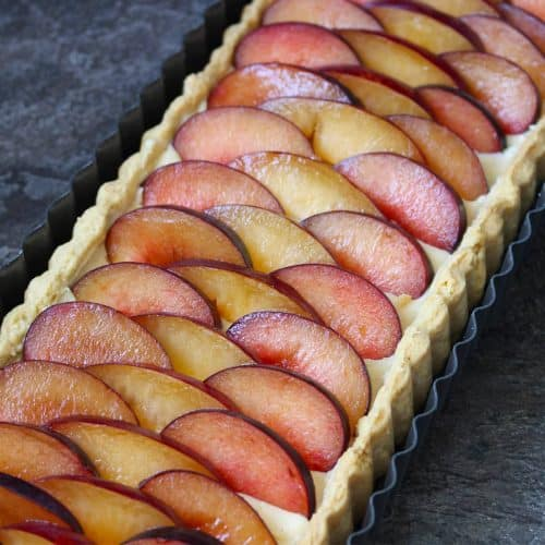 Plum and Vanilla Custard Tart