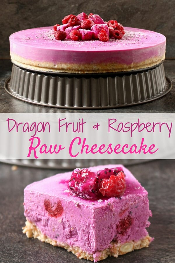 Dragon Fruit and Raspberry Raw Cheesecake: an amazing dairy free, gluten free, vegan cake that will be your favourite summer frozen treat!