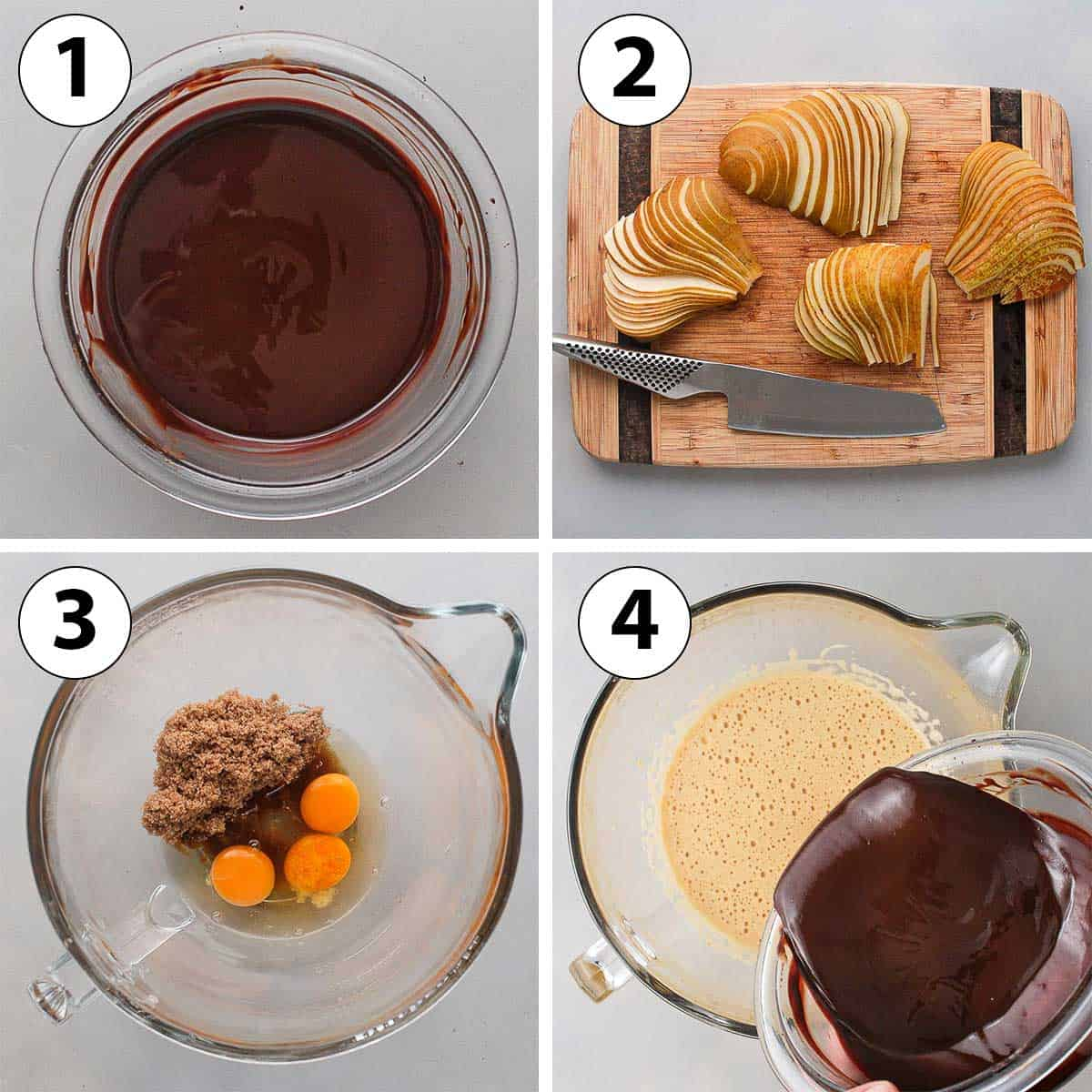 Process Shot Collage: melting the chocolate, cutting the pears and mixing the wet ingredients.