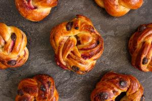 Chocolate Raspberry Swirl Brioche Buns