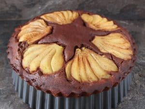 Double Chocolate Cake with Spiced Pears