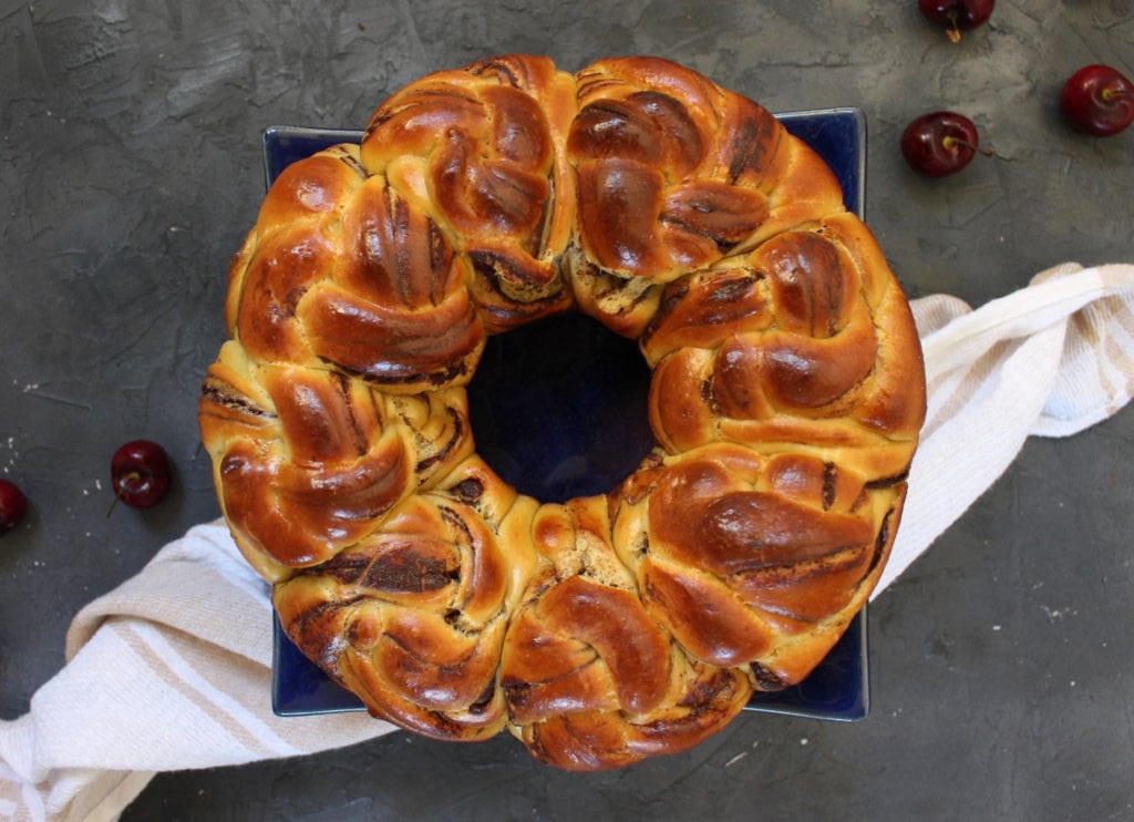 Chocolate Brioche Bread Wreath