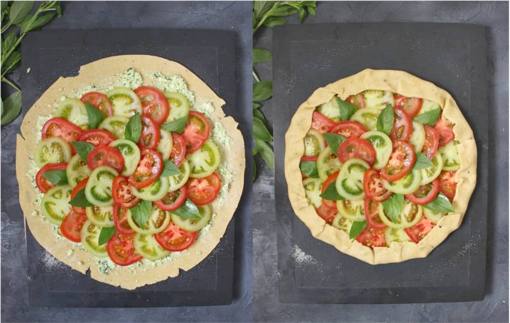 Making of the galette: folding the edges of the pastry over the tomatoes
