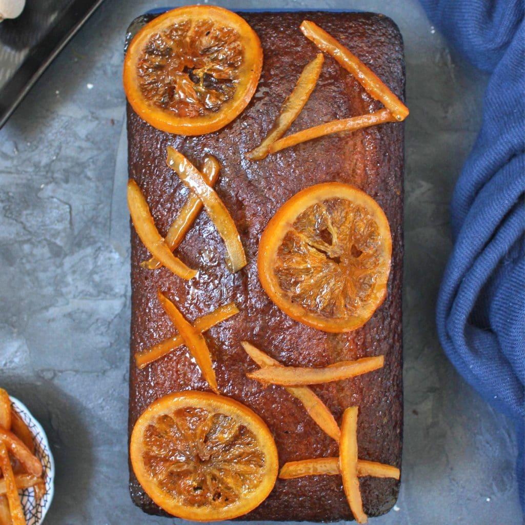 Orange Glazed Spiced Honey Cake with Candied Oranges