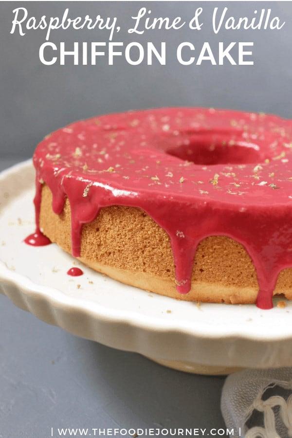Lime Vanilla Chiffon Cake with Lime Raspberry Sauce