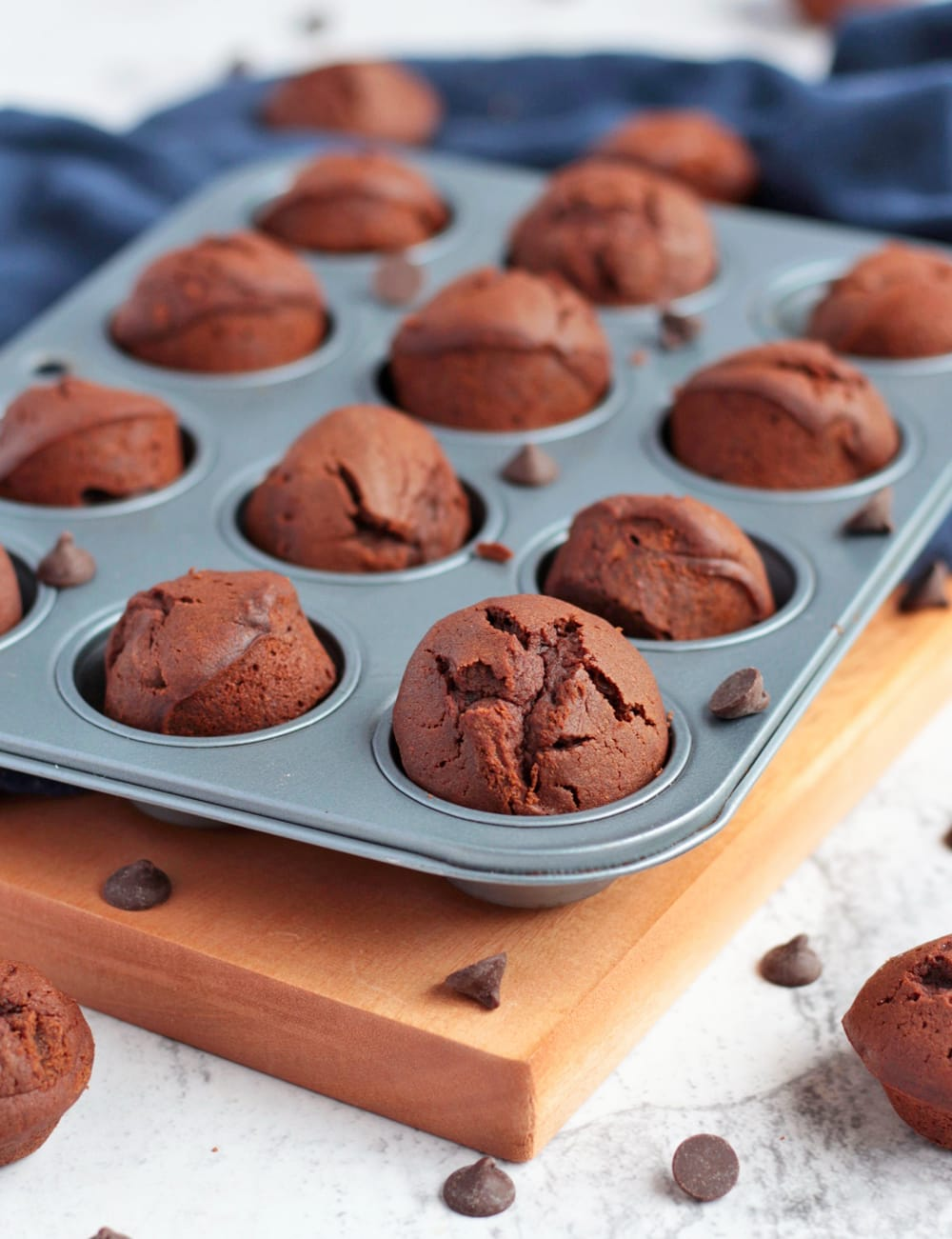 Mini Chocolate Muffins in the muffin tray