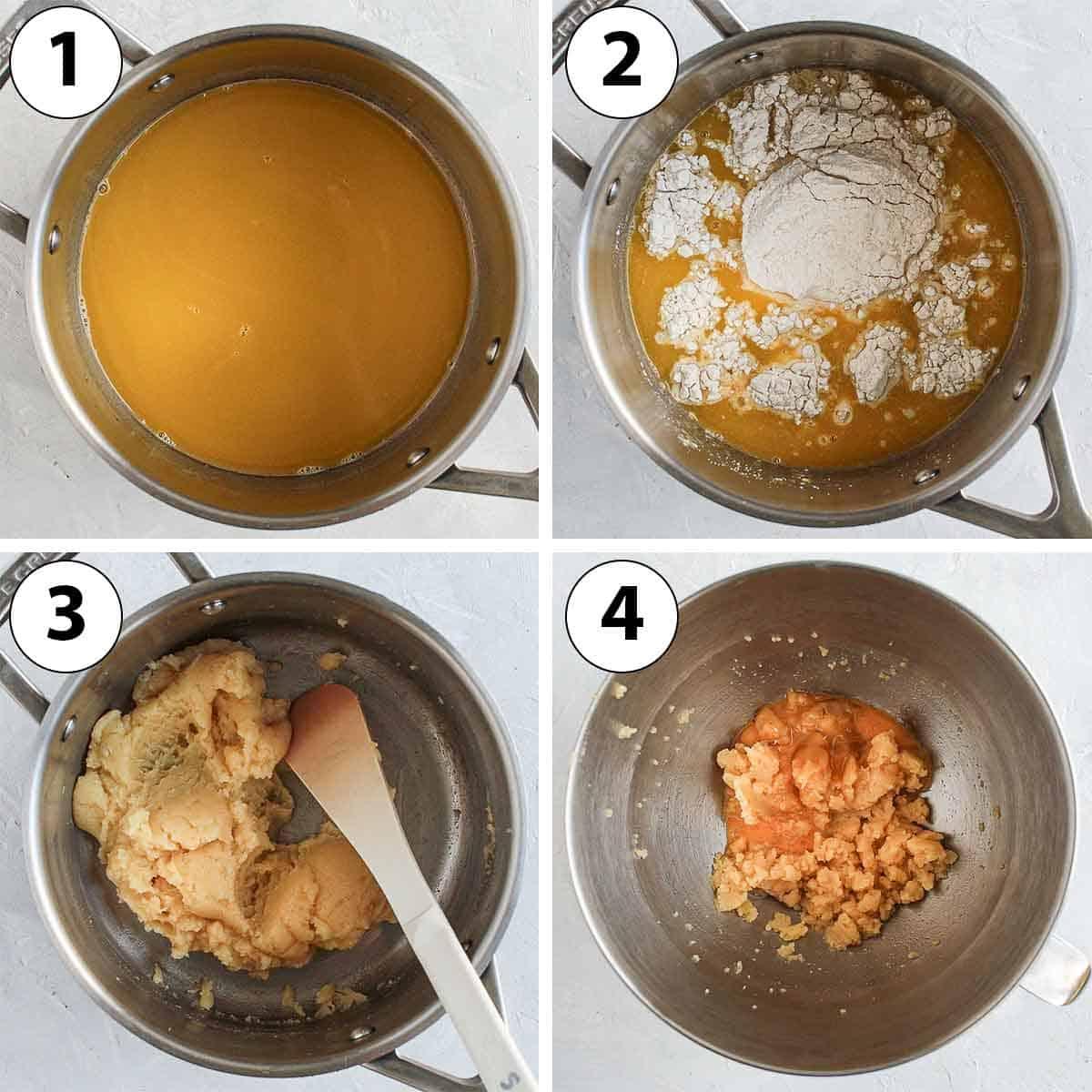 Process Shot Collage: making the savoury choux batter.