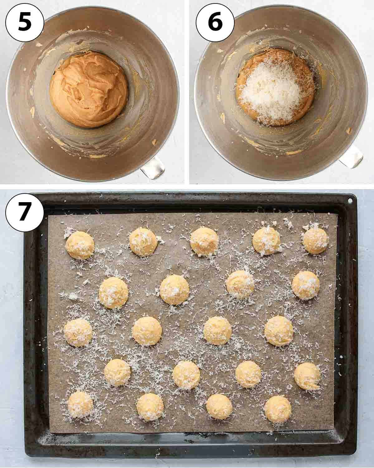 Process Shot Collage: adding the cheese and piping the choux on a baking tray.