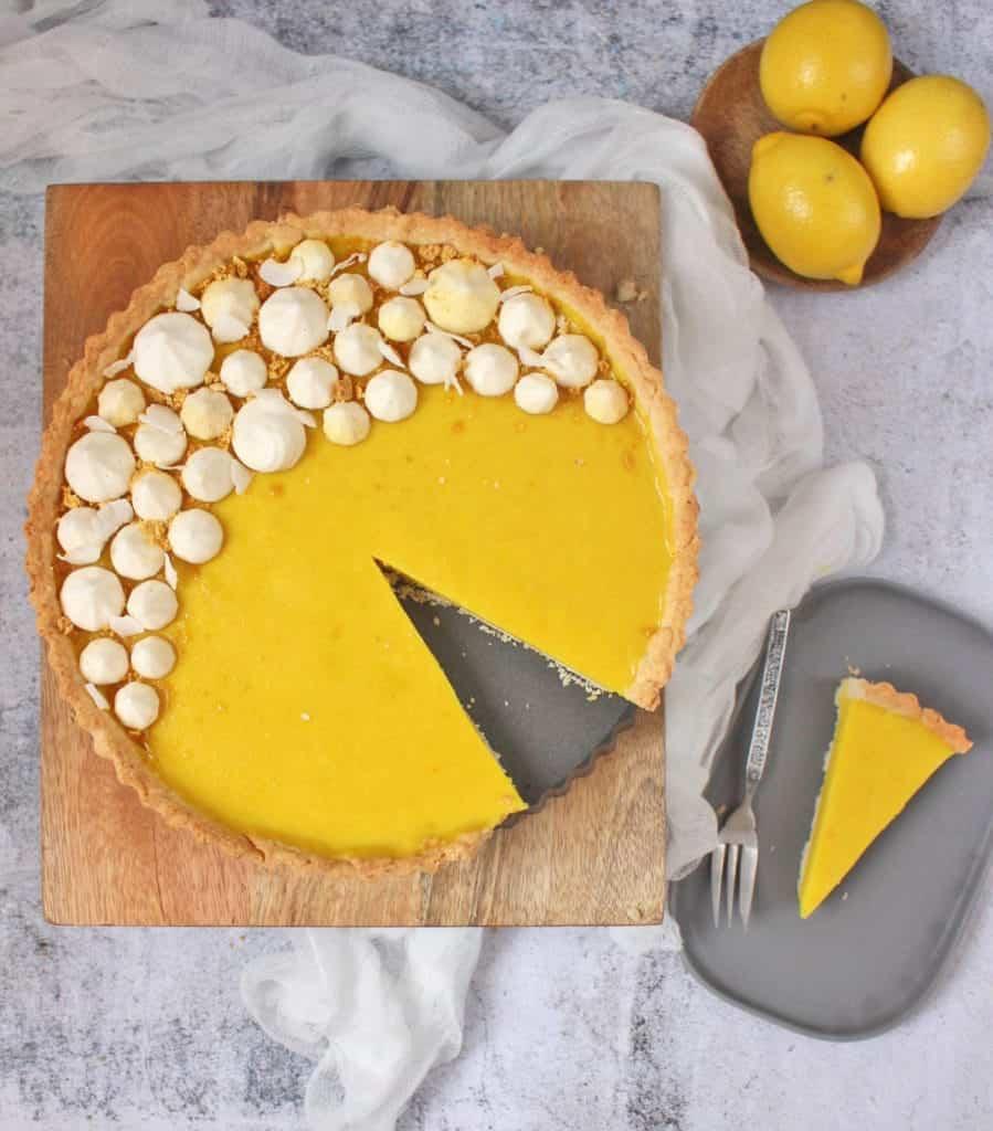 Slice of a Vegan Lemon Tart