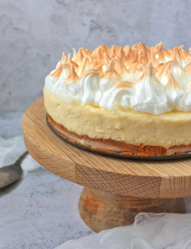 Lemon Mousse Cake with Toasted Meringue - close up