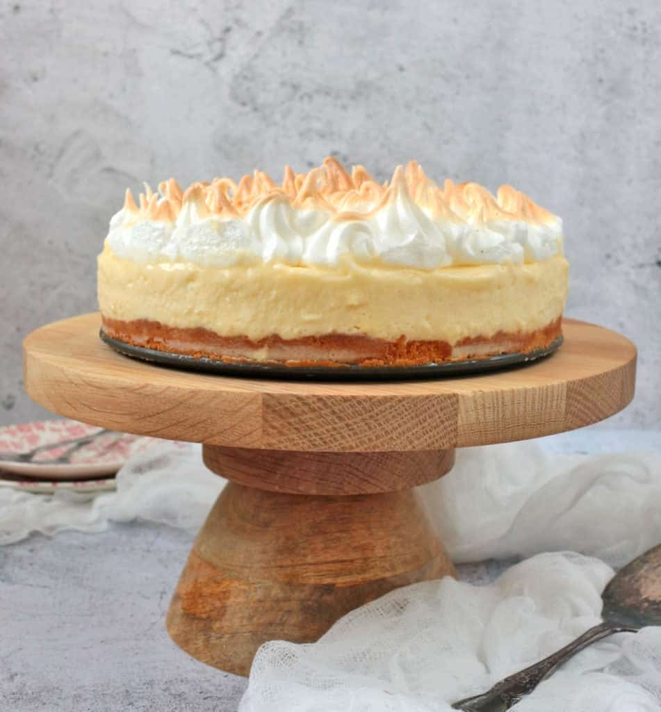Lemon Mousse Cake with Toasted Meringue
