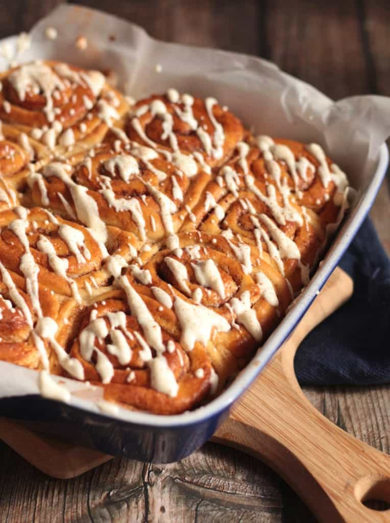 Homemade Cinnamon Rolls in baking dish