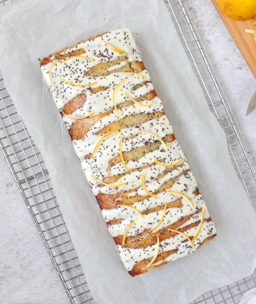 Lemon Poppy Seed Loaf Cake from above