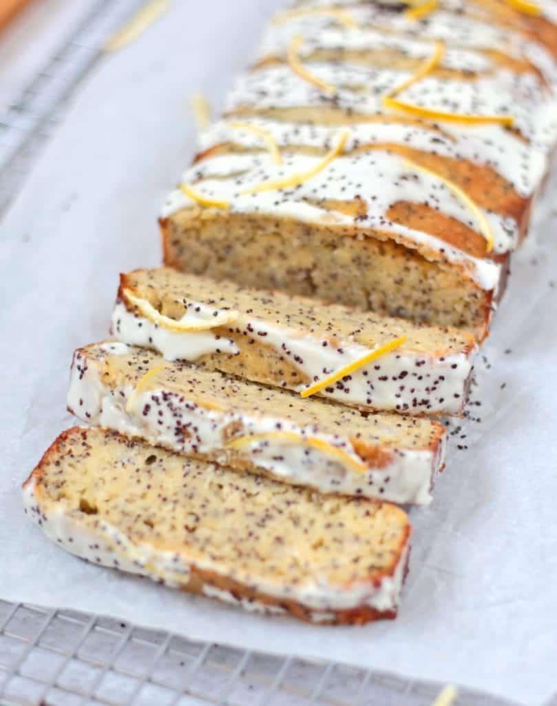 Close-up on Lemon Poppy Seed Loaf Cake