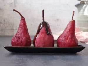 Poached Pears with Red Wine Syrup