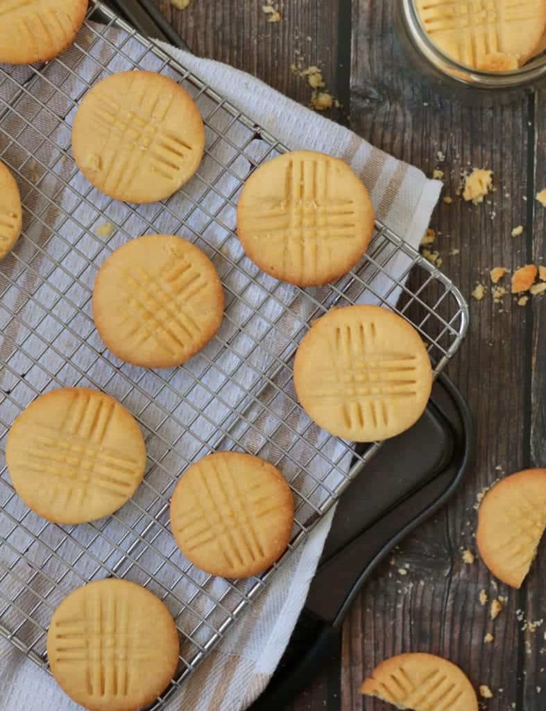 Sable Breton Cookies on a cooling rack from above