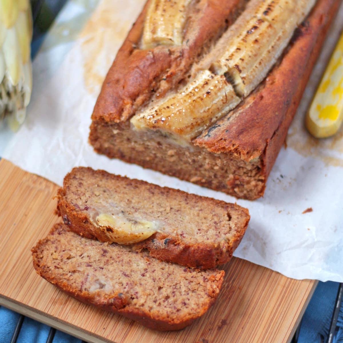 Two slices of Vegan Banana Bread