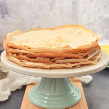 Buckwheat Crepes on a cake stand