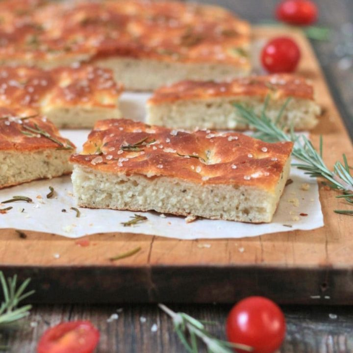 Zoom on a focaccia slice