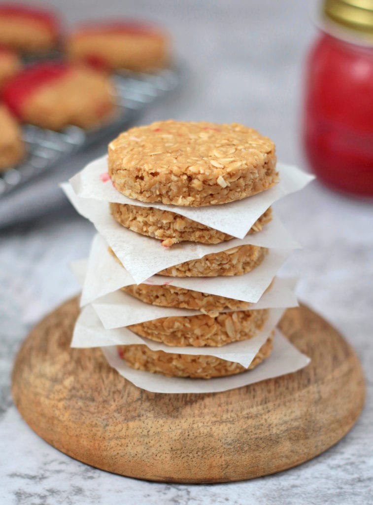 Stack of No Bake Peanut Butter Cookies.