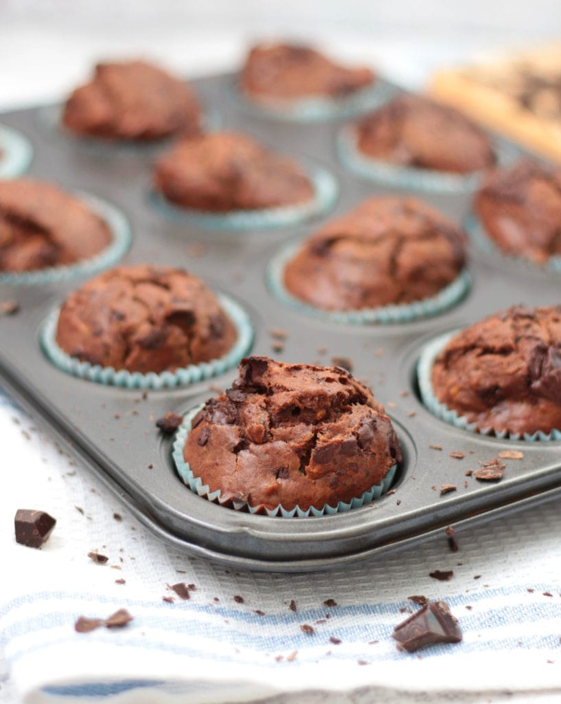 Chocolate Zucchini Muffins in the tin