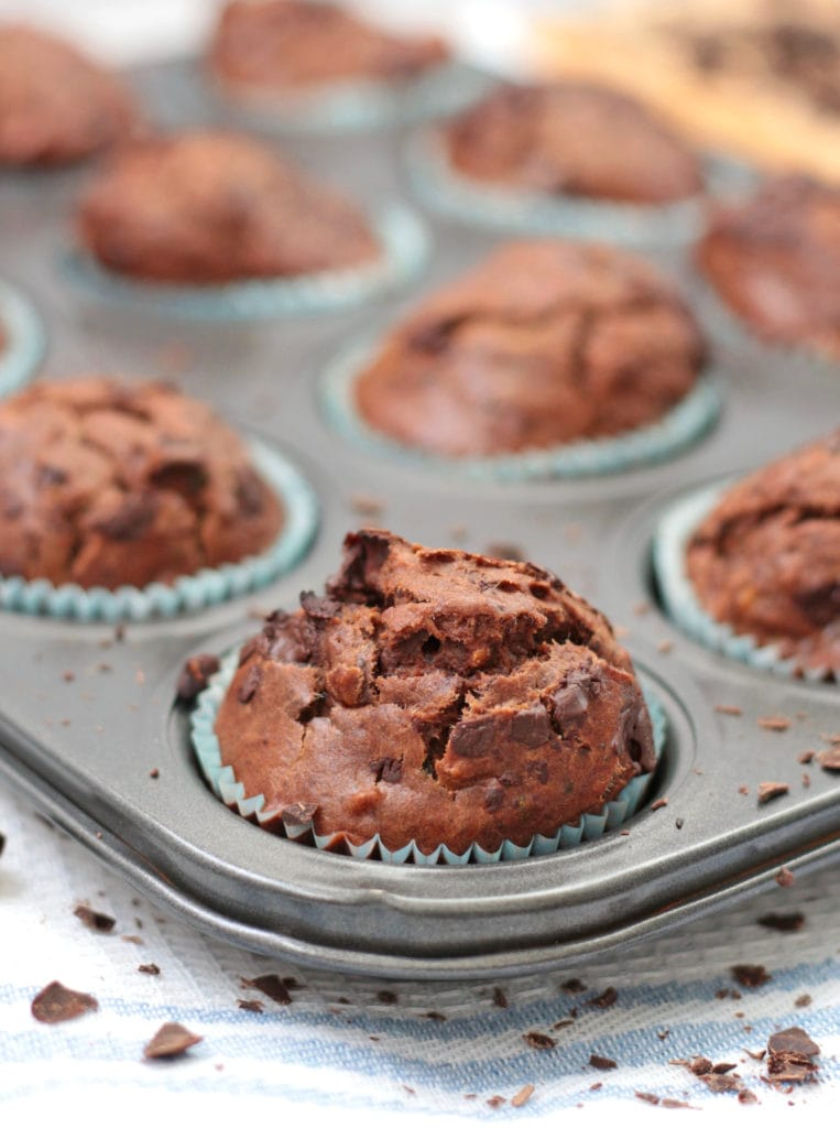 Chocolate Zucchini Muffins in the tin - close up