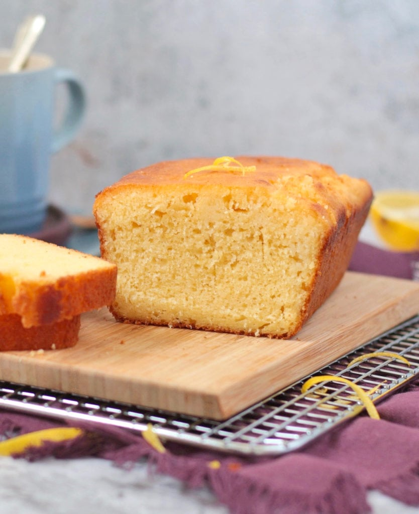 Close up on Lemon Drizzle Cake