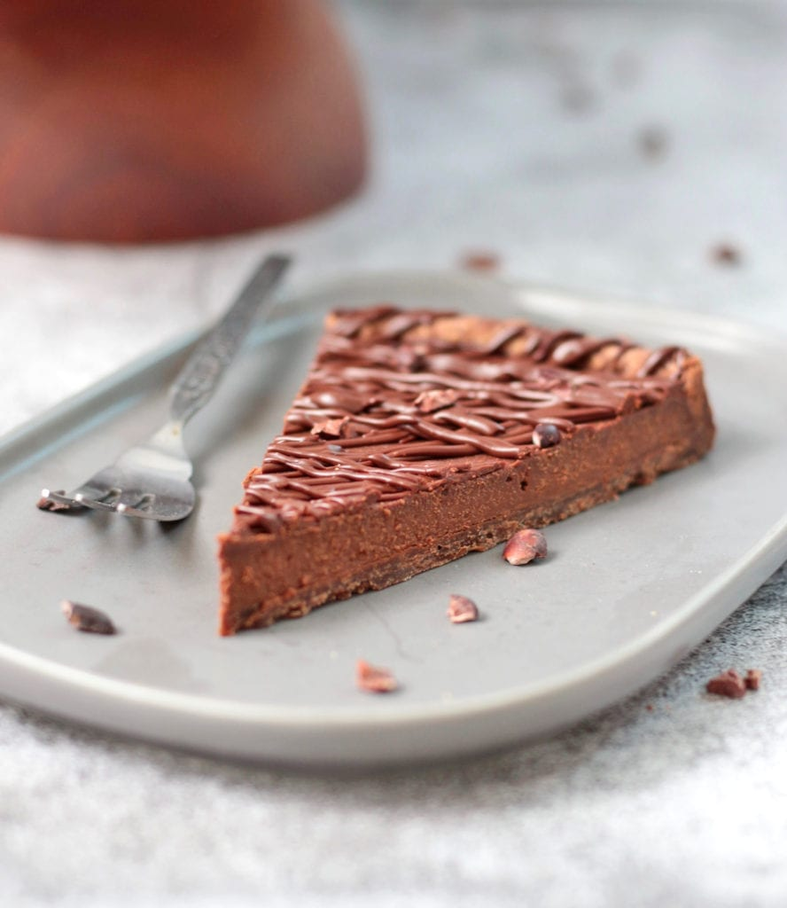 Slice of baked chocolate tart on a plate