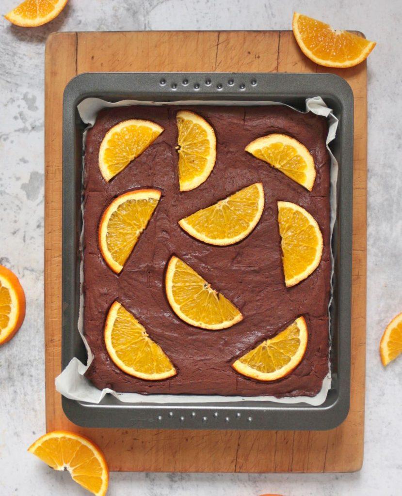 Un-cut brownie in the baking pan