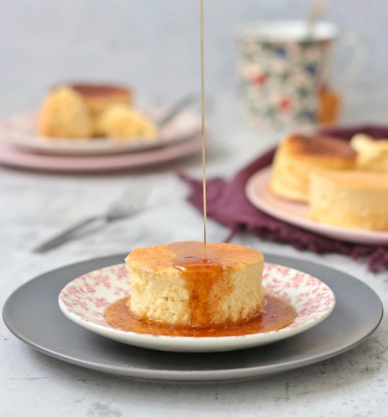 Souffle Pancake with Maple Syrup poured over