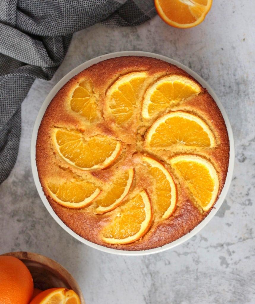 Full orange cake from above