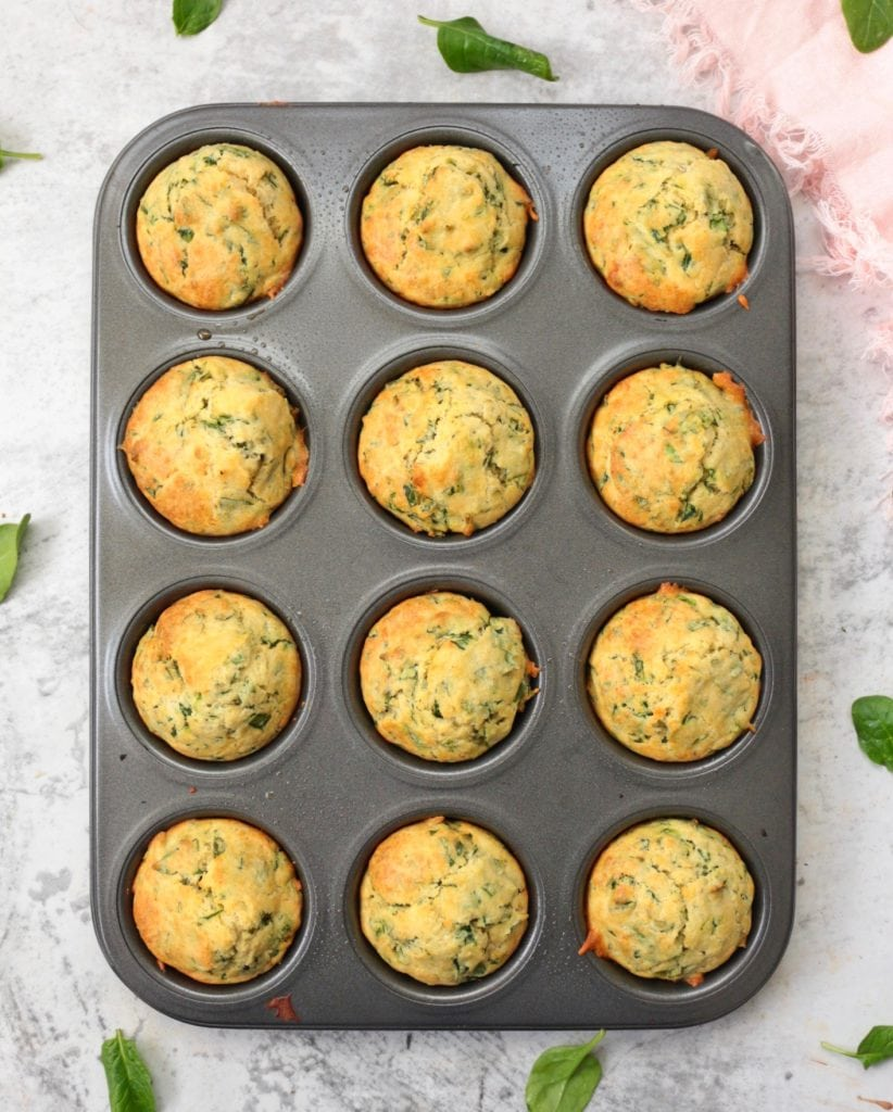 Spinach Muffins from above in the muffin pan