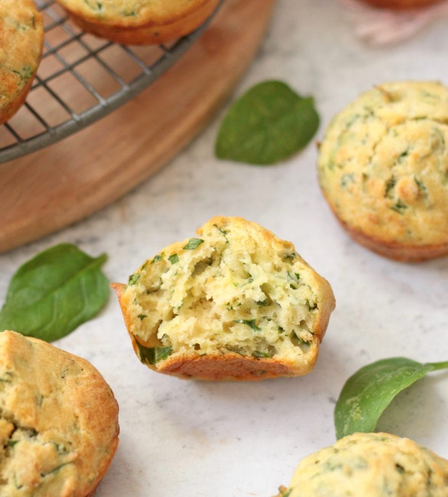 Crumb shot of the savory muffin