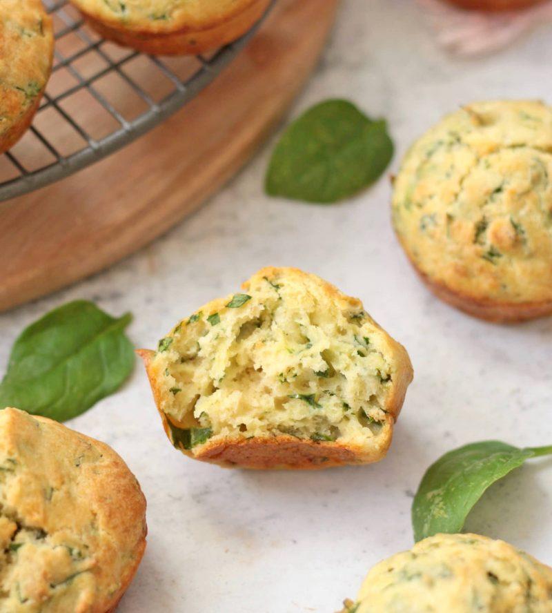 Crumb shot of the savory muffin.