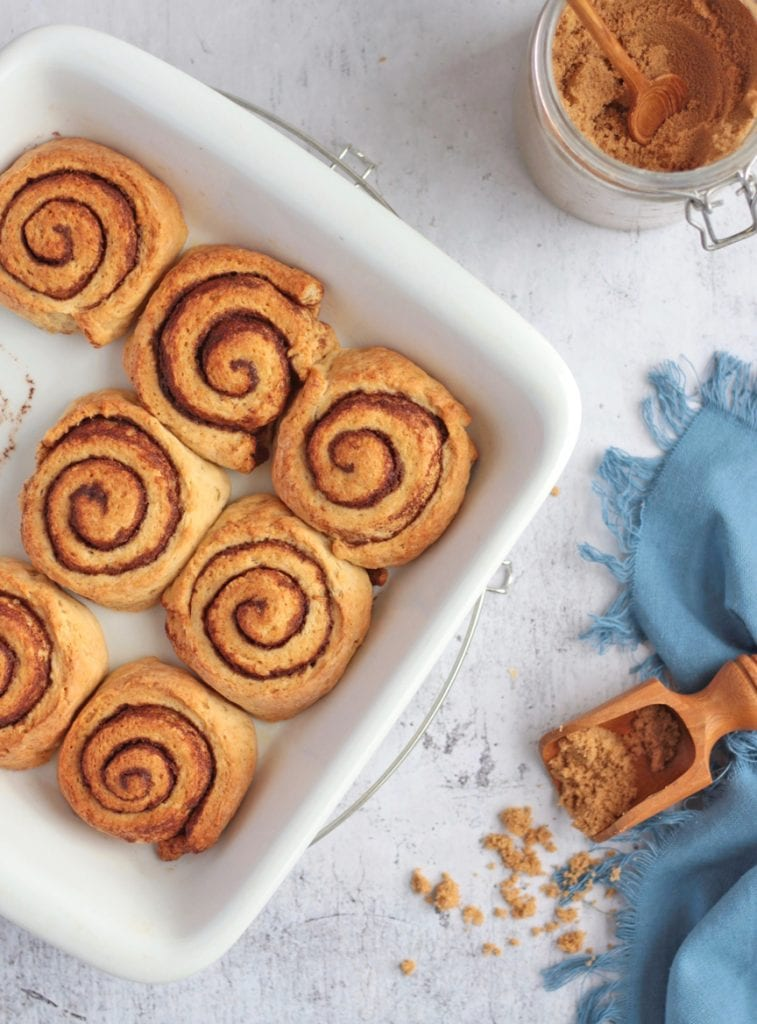 Flat-lay of the no-yeast cinnamon rolls in the dish