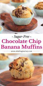 Sugar Free Chocolate Chip Banana Muffins