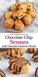 Chocolate Chip Scones with Chocolate Ganache Drizzle