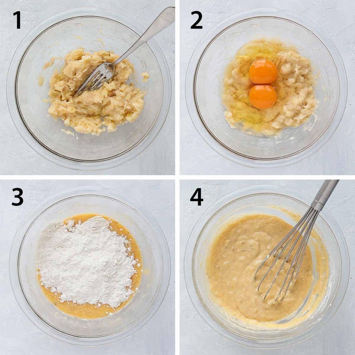 Process Shot Collage: making the pancake batter.