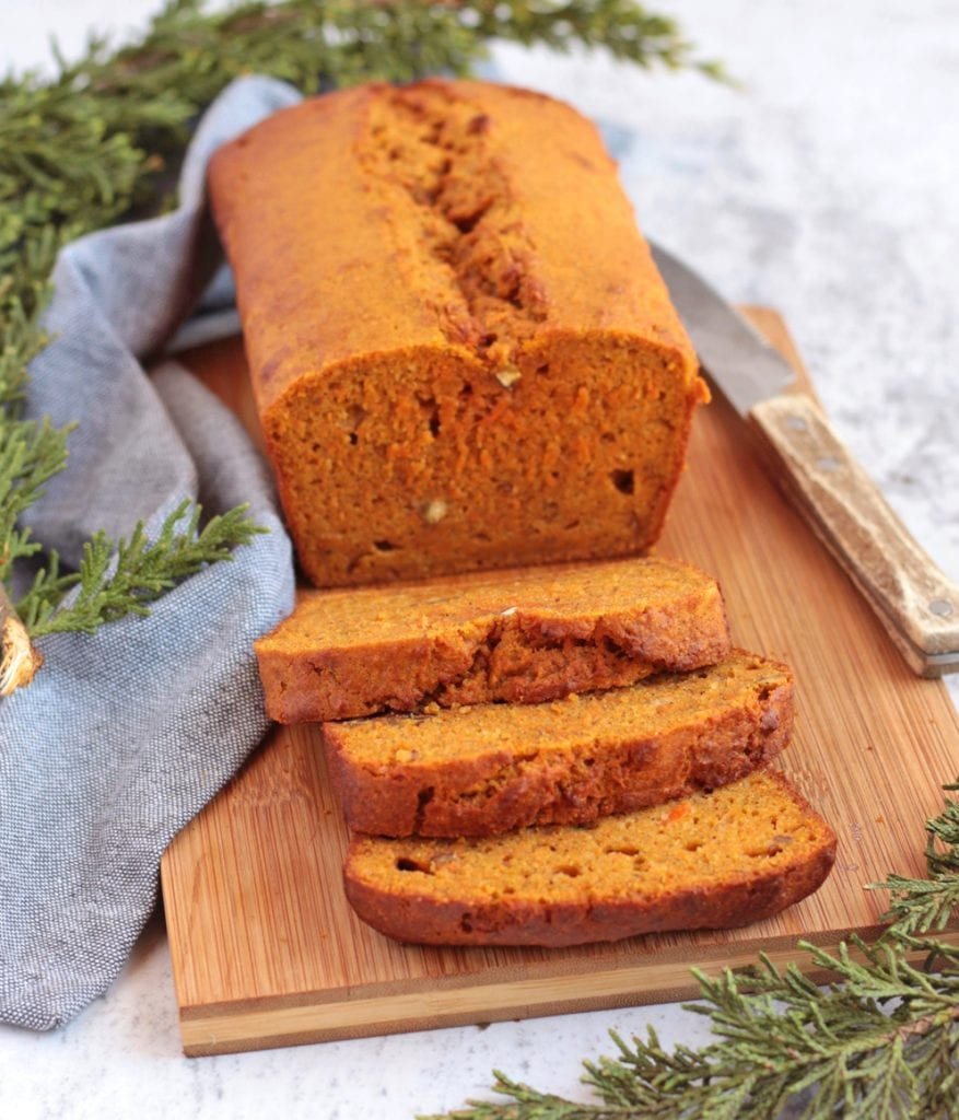 Carrot Loaf Bread sliced and ready to be served