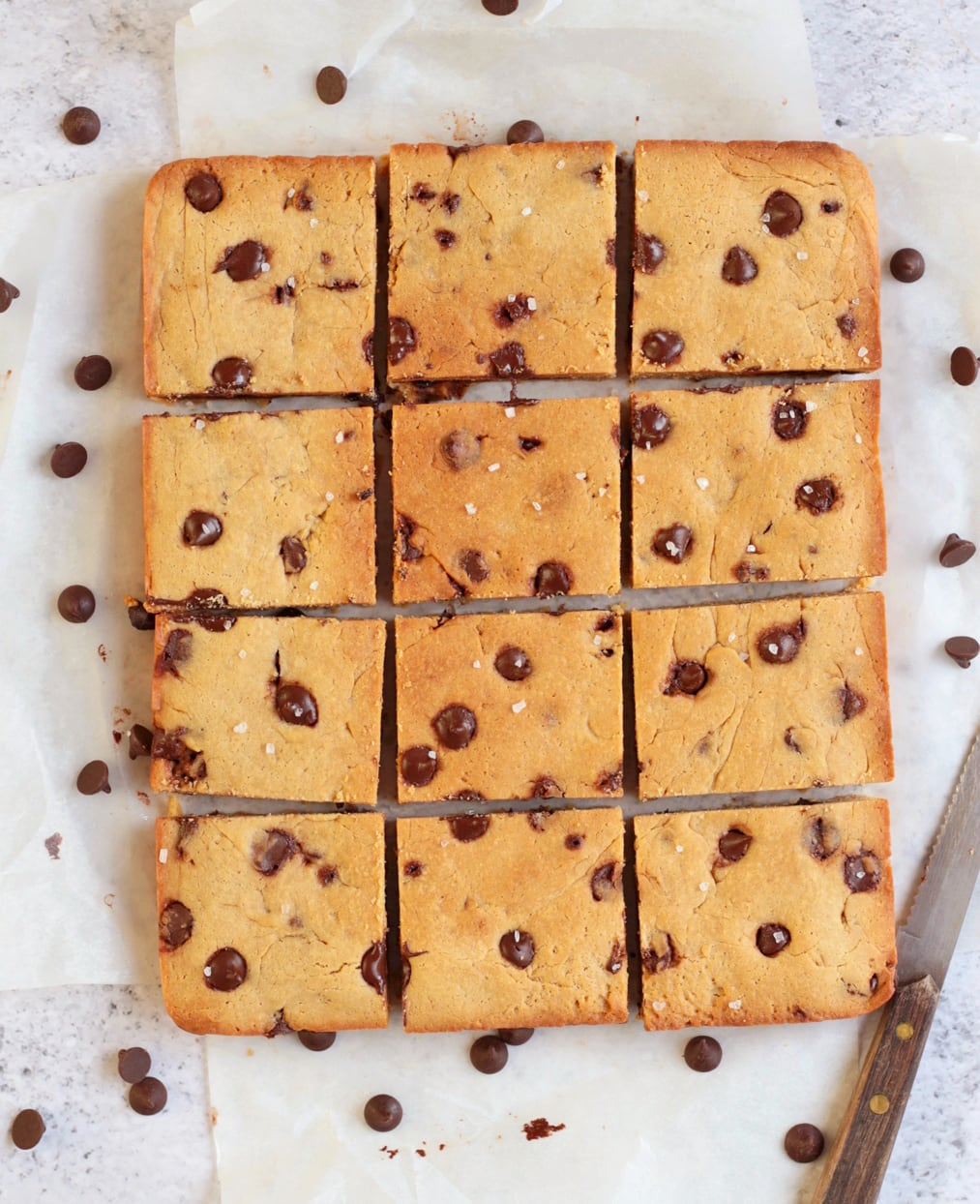 12 sliced Blondies squares shot from above.
