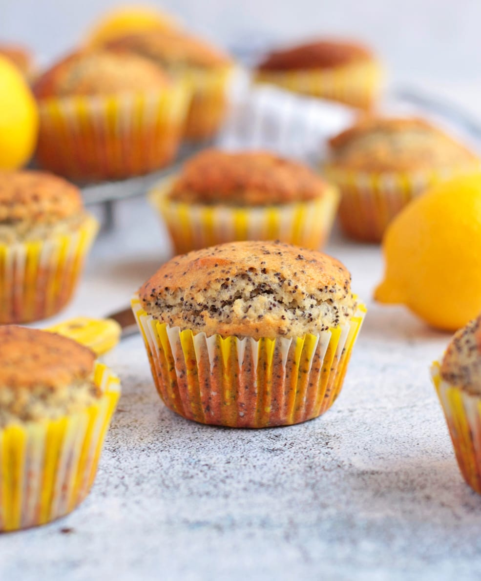 Lemon and Poppy Seed Muffins on a grey surface.
