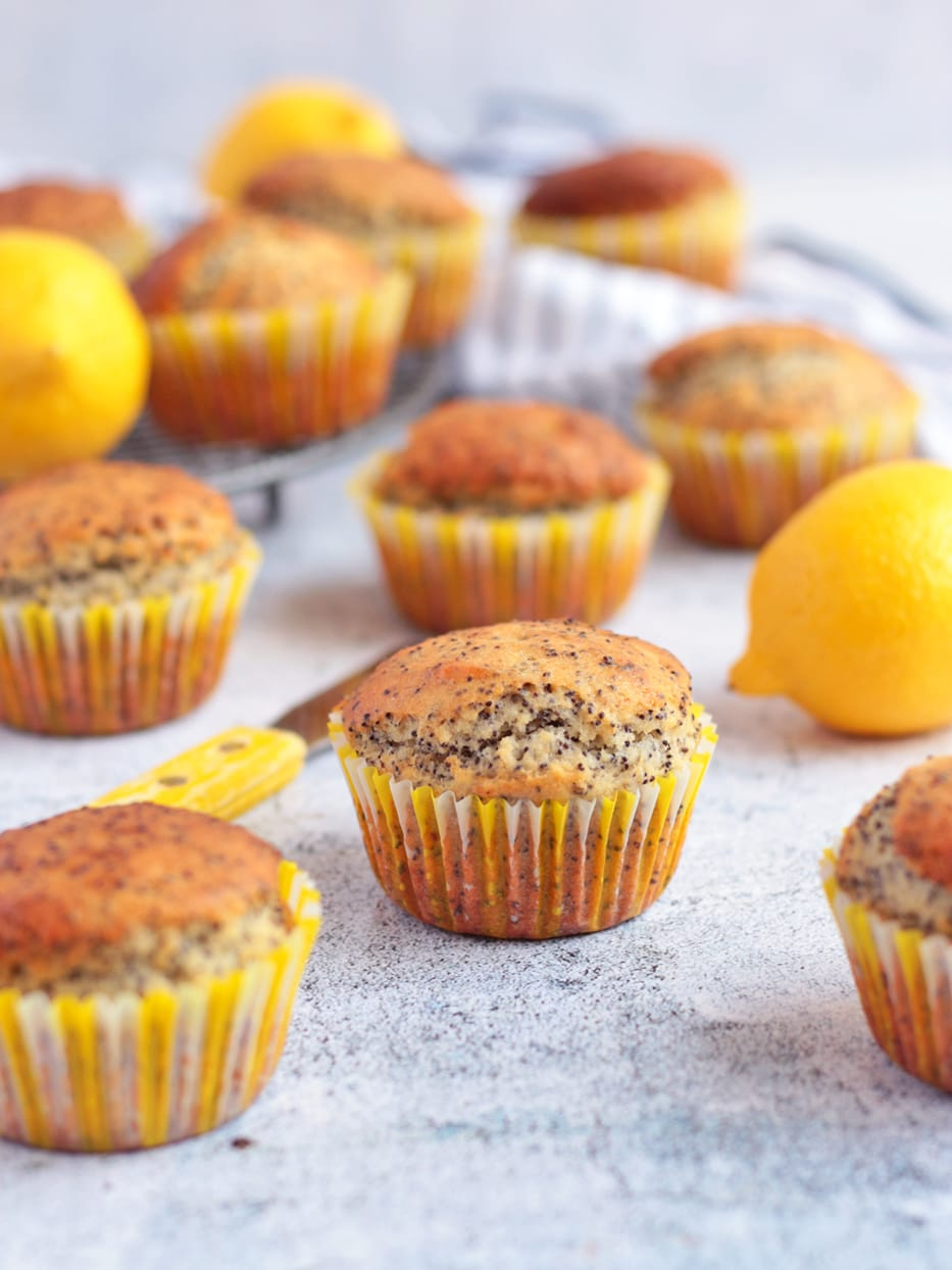 Lemon Poppy Seed Muffins surrounded by Fresh Lemons.